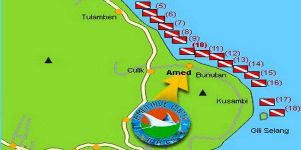 plan des Sites de Plongée & Snorkeling Amed