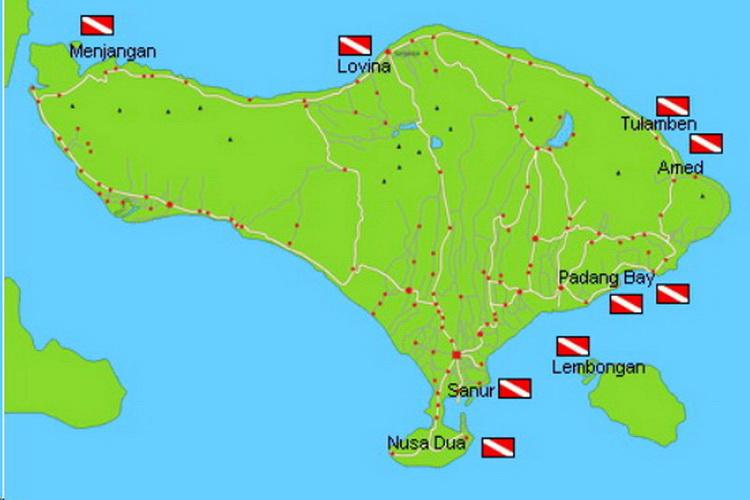 Mapa de Bali con sitios de buceo