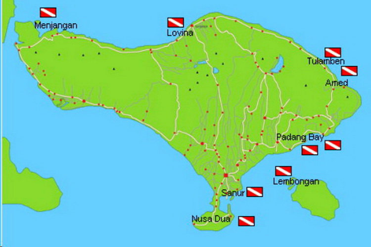 Carte de Bali avec sites de plongée