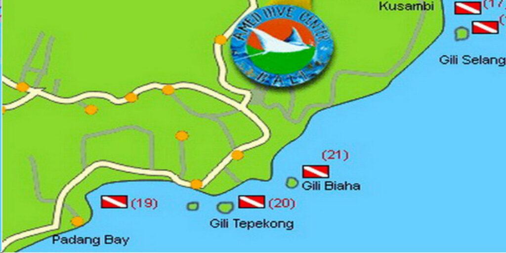 mapa de los sitios de buceo de Candidasa