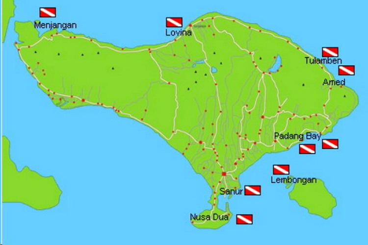 Carte de Bali avec sites de plongée