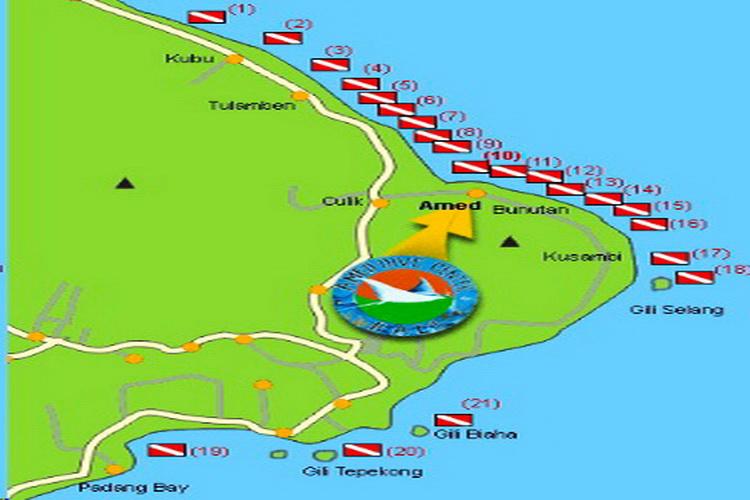 mapa de los sitios de buceo de Amed y Tulamben