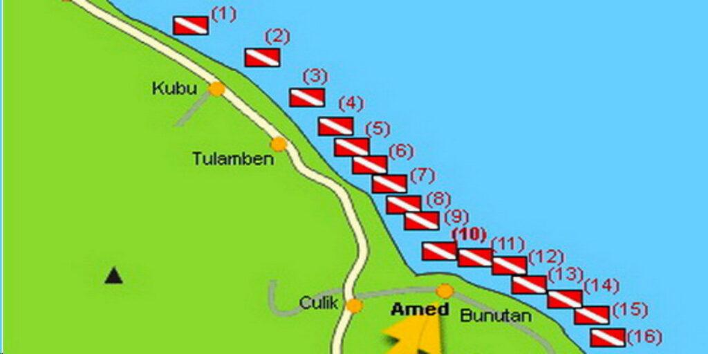 Karte Tulamben Tauch- & Schnorchelplätze