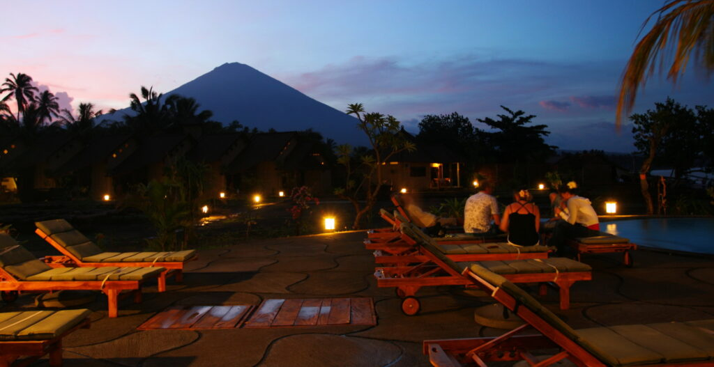 view at Mt Agung from beach pool