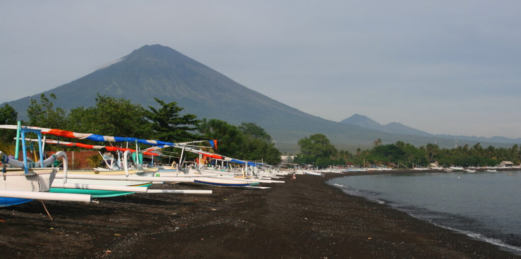 Amed beach with Mt. Agung
